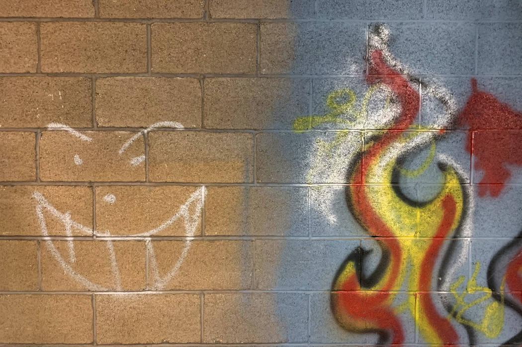Graffiti adorns a cinder block wall inside the historic Huntridge Theater photographed on Thurs ...