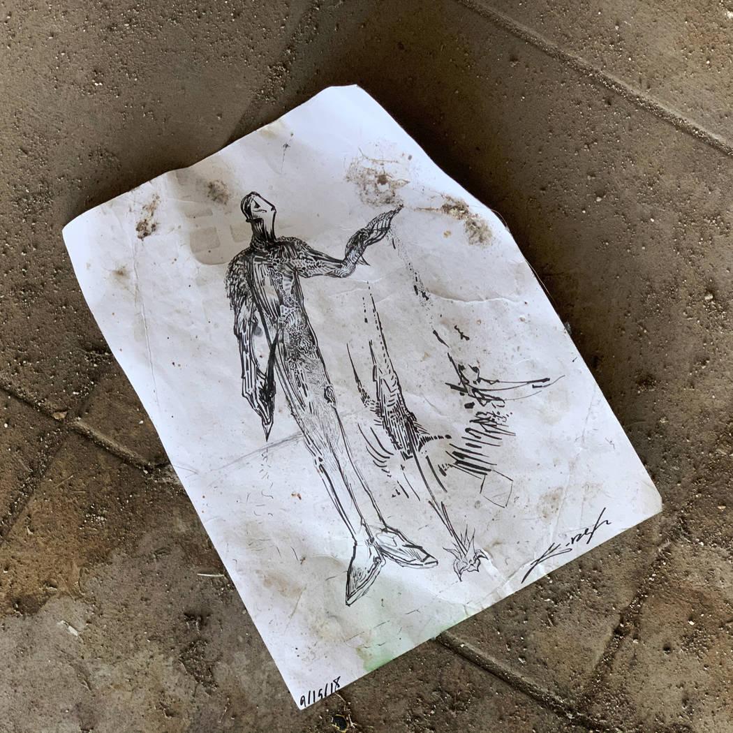 A piece of art lies on the floor inside the historic Huntridge Theater on Thursday, Oct. 31, 20 ...