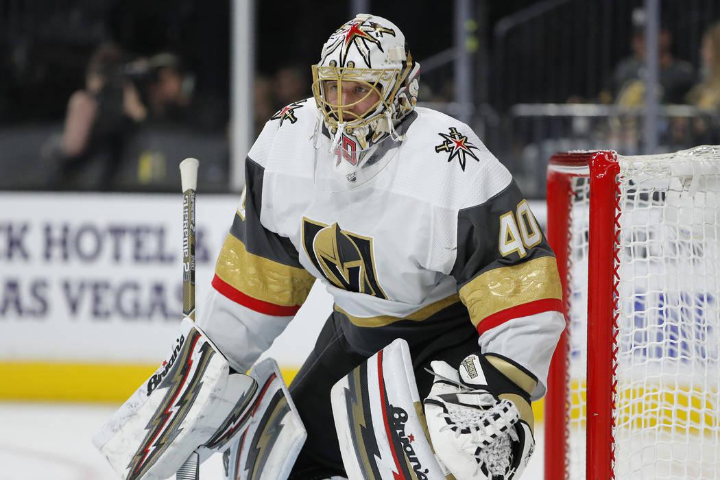 Vegas Golden Knights goaltender Garret Sparks (40) plays against the Colorado Avalanche during ...