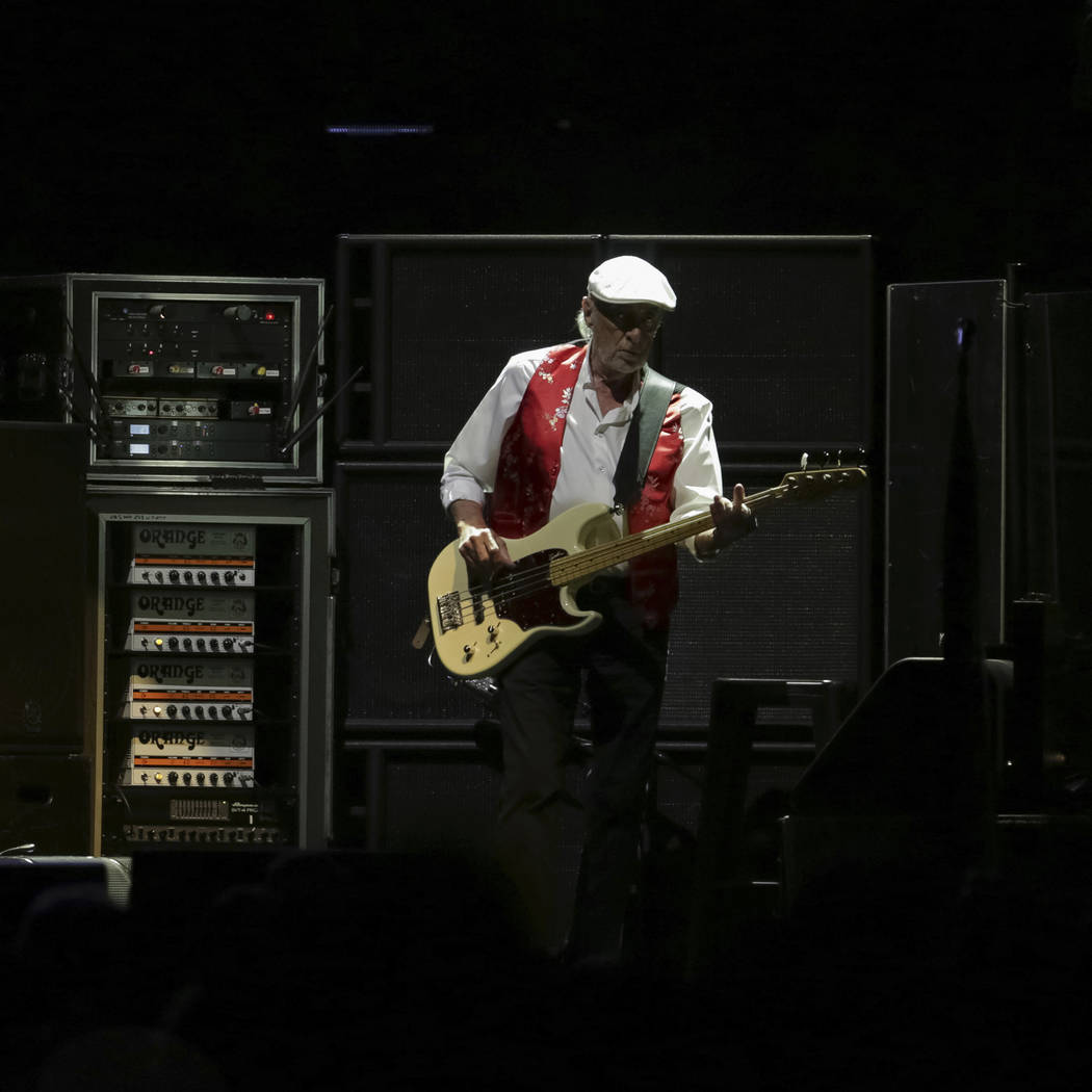 Bassist John McVie performs onstage with Fleetwood Mac at the Capital One Arena on Tuesday, Mar ...