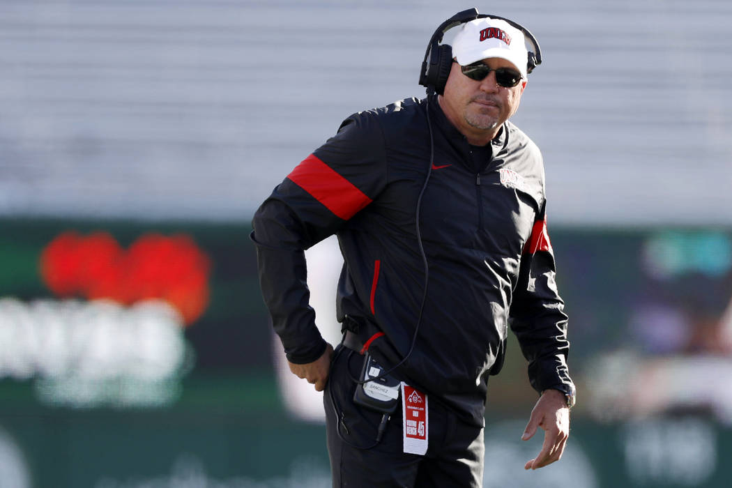 UNLV head coach Tony Sanchez looks on in the second half of an NCAA college football game again ...