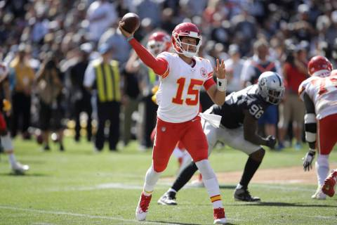 Kansas City Chiefs quarterback Patrick Mahomes during the second half of an NFL football game a ...