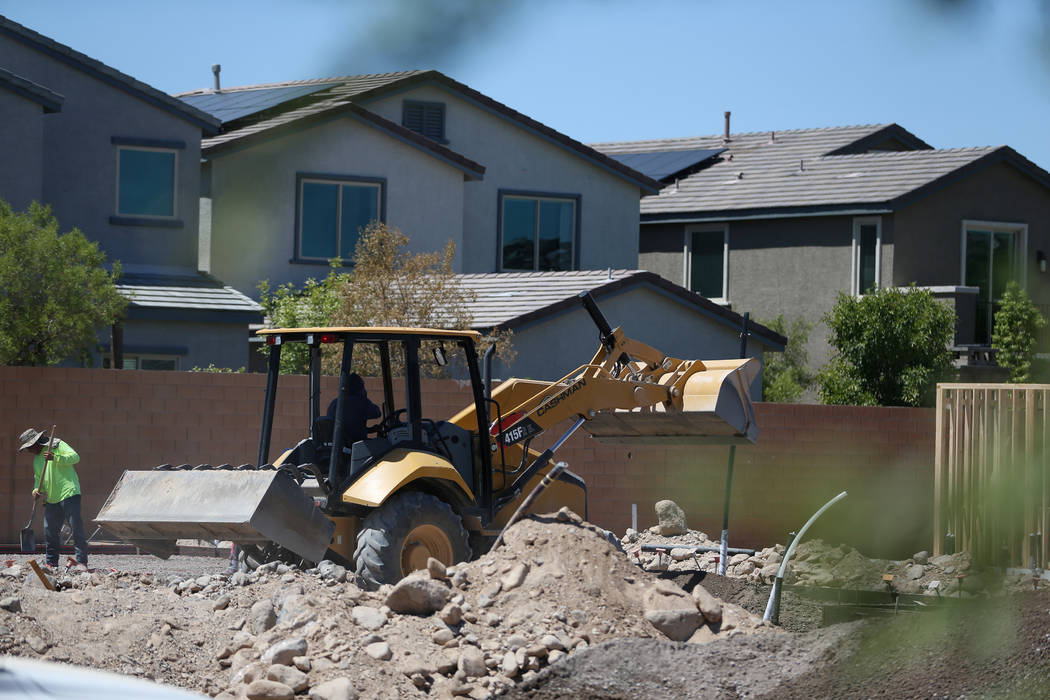Construction at Lennar's Rose Ridge subdivision in Henderson, Wednesday, Aug. 21, 2019. (Erik V ...