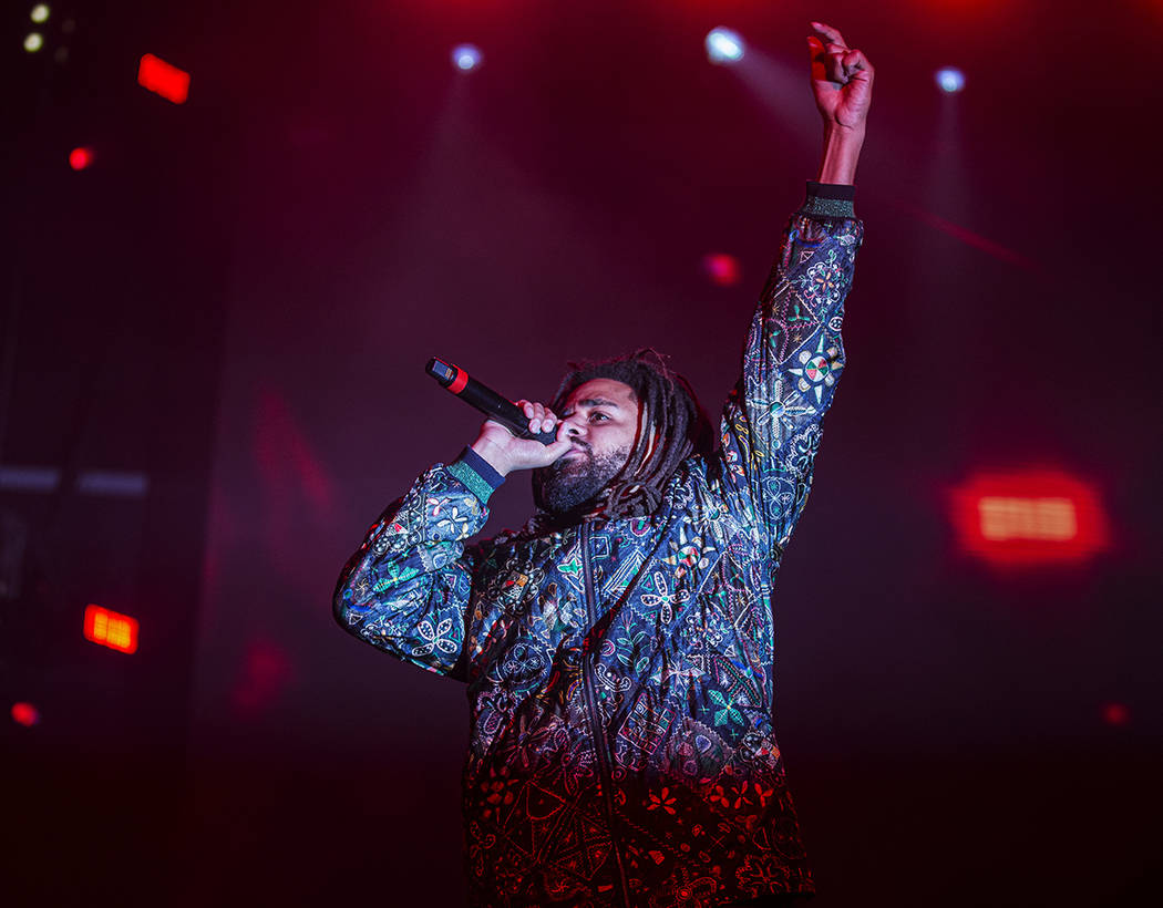 J. Cole performs on the Jackpot stage during the Day N Vegas music festival on Friday, Nov. 1, ...