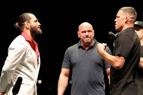 FILE - In this Sept. 19, 2019, file photo, Jorge Masvidal, left, squares off with Nate Diaz as ...
