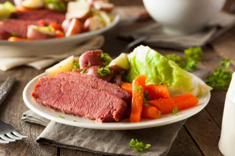 Homemade Corned Beef and Cabbage with Carrots and Potatoes. (Getty Images)