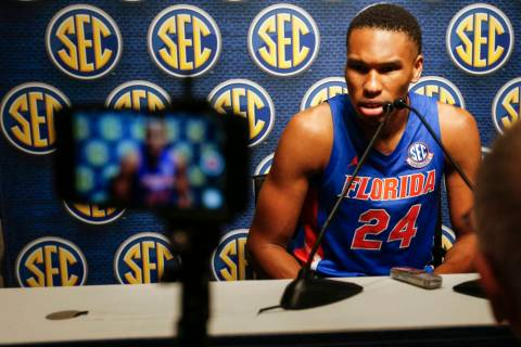 Florida's Kerry Blackshear Jr speaks during the Southeastern Conference NCAA college basketball ...