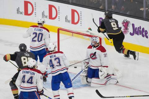 Vegas Golden Knights center Cody Glass (9) celebrates after scoring against Montreal Canadiens ...