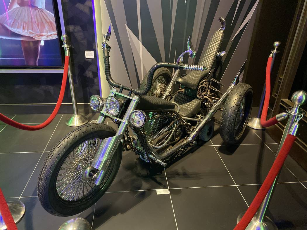 "The customized motorcycle from Lady Gaga's 2012-2013 ""Born This Way Ball"" tour is shown on ..."