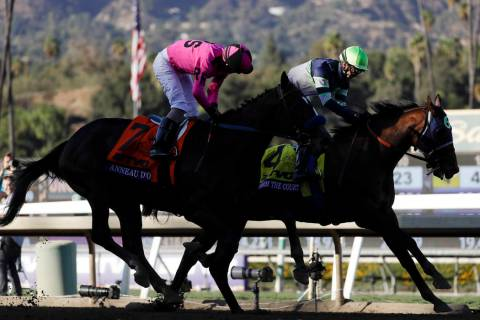 Storm the Court, right, with Flavien Prat, edges out Anneau D'or in the Breeders' Cup Juvenile ...