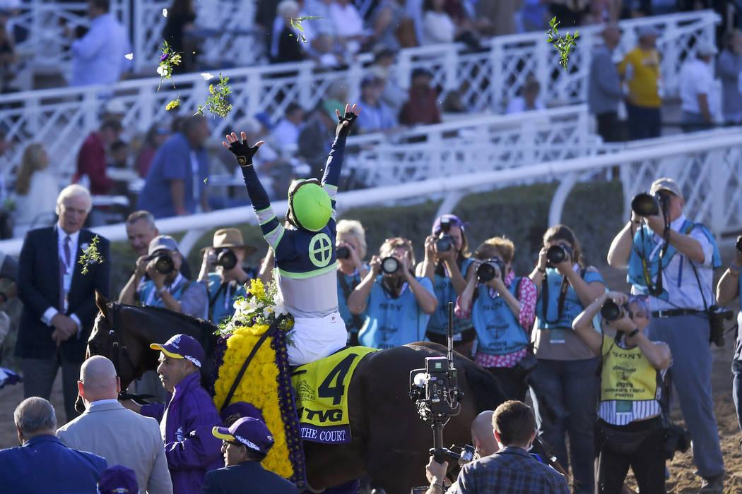 Flavien Prat celebrates after Storm the Court won the Breeders' Cup Juvenile horse race at Sant ...