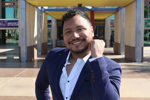 Kris Manzano, founder and director of the Las Vegas Queer Arts Film Festival, poses for a photo ...