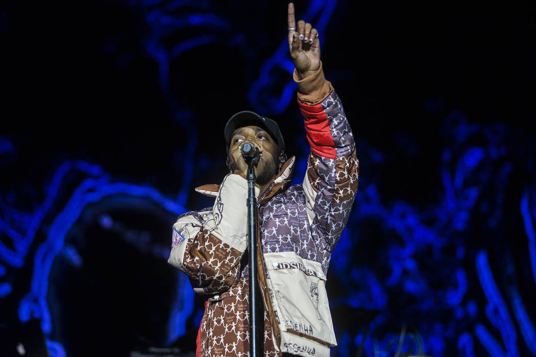6lack performs on the Jackpot stage during the Day N Vegas music festival on Friday, Nov. 1, 20 ...