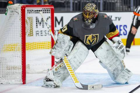 Vegas Golden Knights goaltender Malcolm Subban (30) looks to a wide shot by the Winnipeg Jets d ...