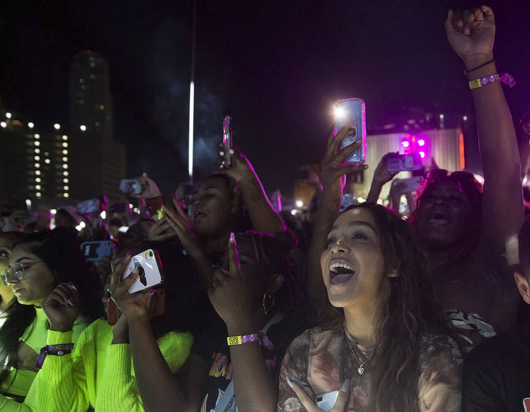 Fans cheer for Summer Walker on the Roll the Dice stage during the Day N Vegas music festival o ...
