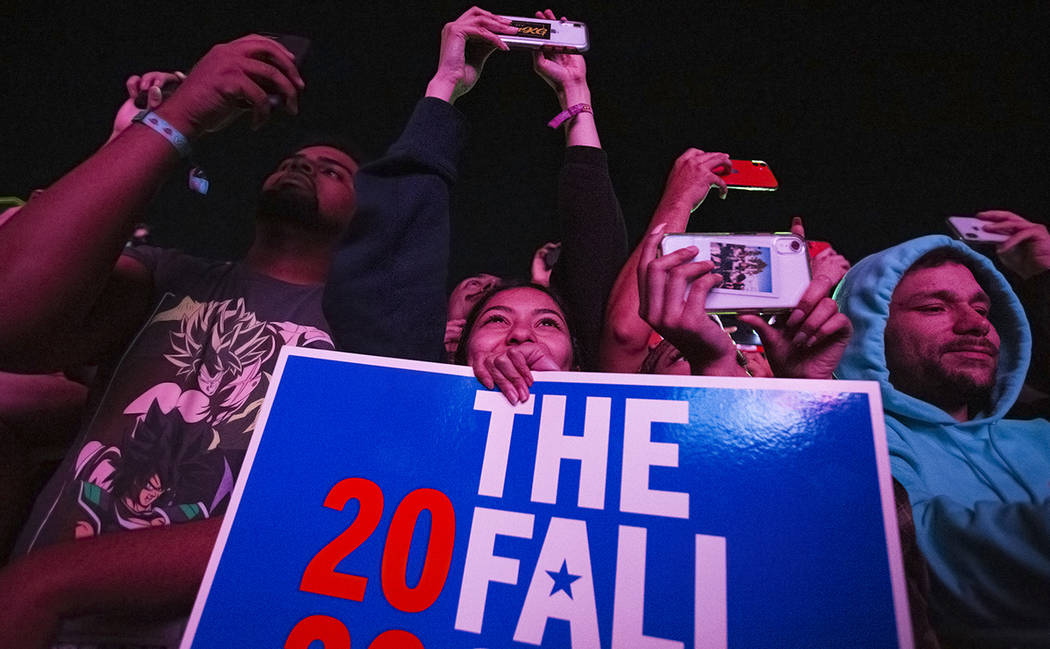 Fans cheer for J. Cole on the Jackpot stage during the Day N Vegas music festival on Friday, No ...