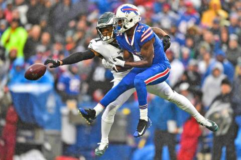 Philadelphia Eagles' Ronald Darby, left, blocks a pass intended for Buffalo Bills' John Brown d ...