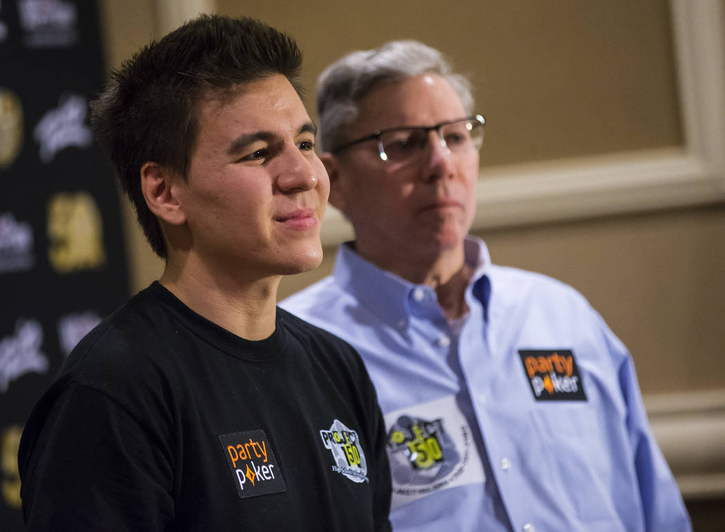 "Las Vegas resident and ""Jeopardy!"" sensation James Holzhauer, left, speaks alongside Poker Hall ..."