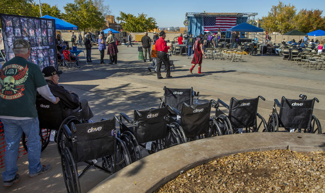 Wheelchairs begin to pile up from elderly veterans in attendance during the 10th Annual One Her ...