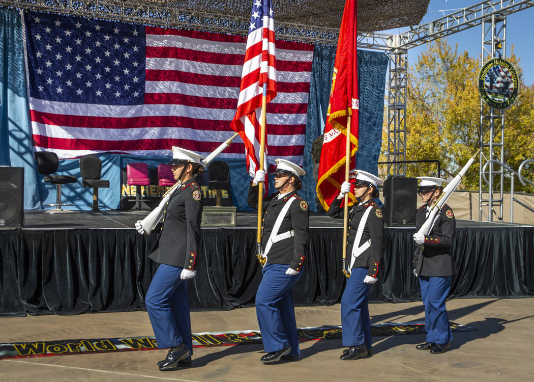 The Basic High School JROTC color guard presents the colors during the 10th Annual One Hero at ...