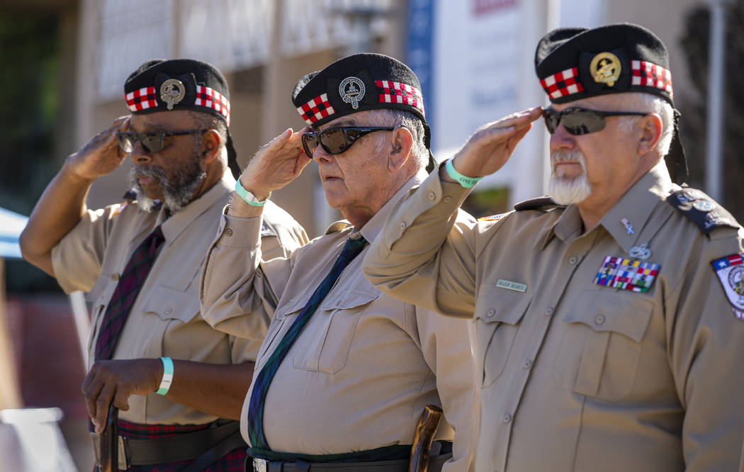 (From left) Danny McDonald, Ed Gilmore and Mark Hames with the Scottish-American Military Socie ...