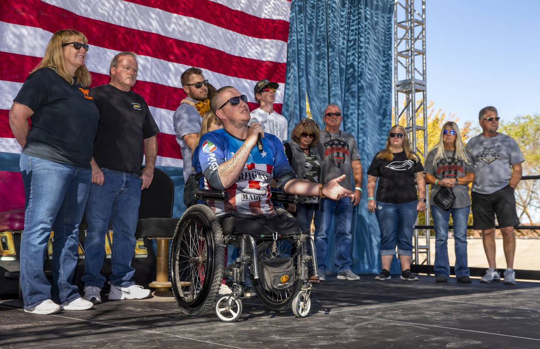 Veteran Tim Hall thanks his family on stage with him and those in attendance during the 10th An ...
