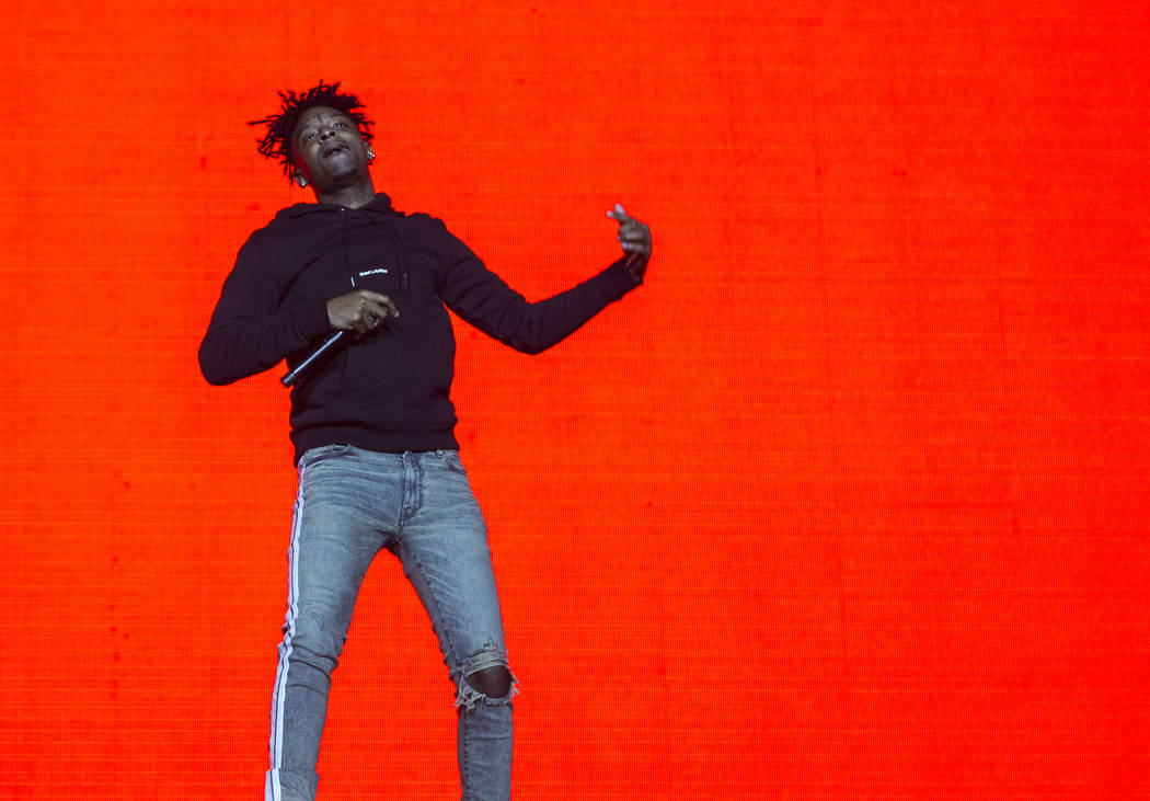 21 Savage performs on the Jackpot stage during Day N Vegas music festival on Saturday, Nov. 2, ...
