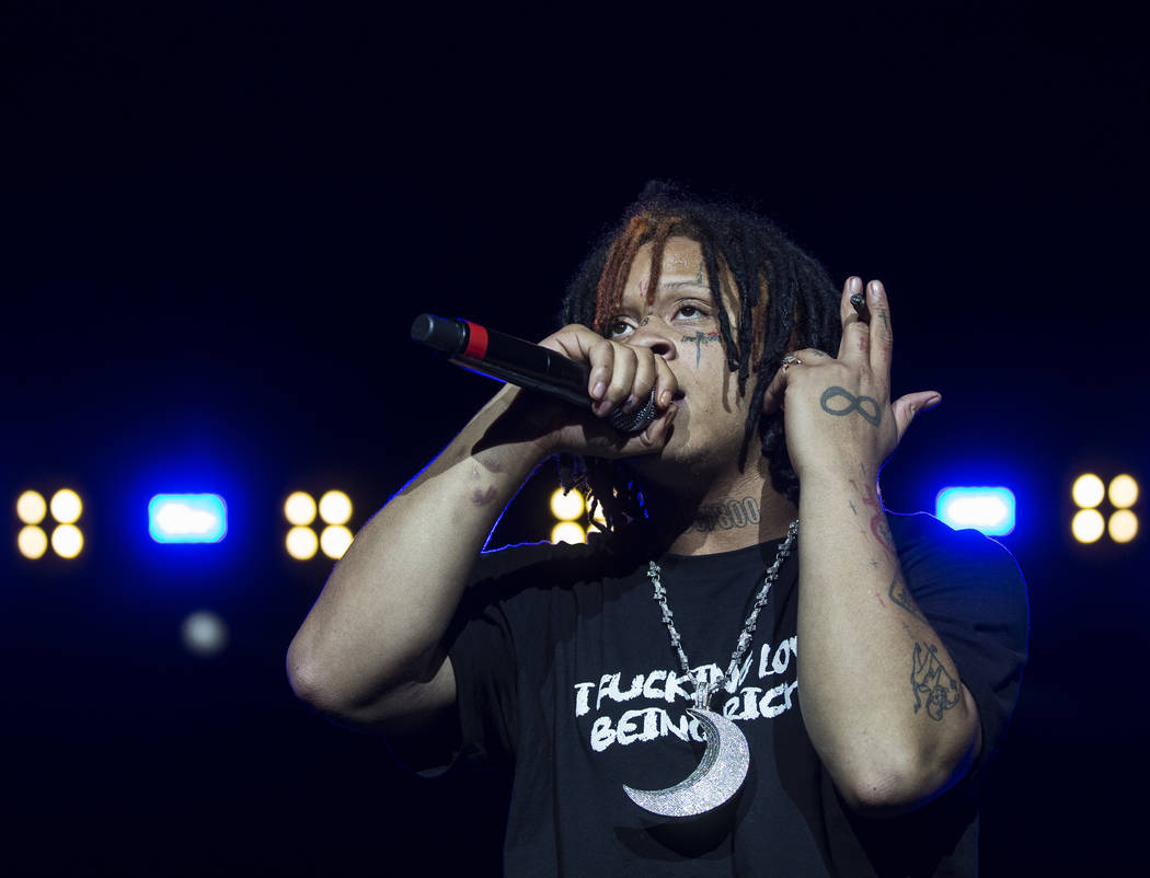 Trippie Red performs on the Jackpot stage during Day N Vegas music festival on Saturday, Nov. 2 ...