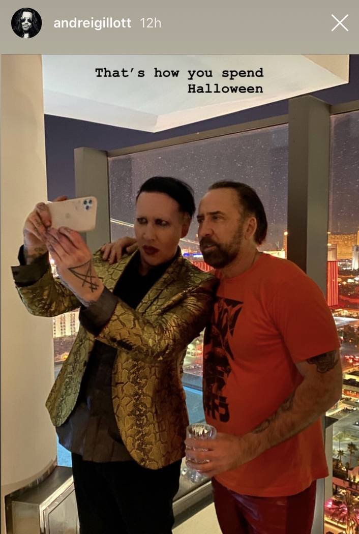 Marilyn Manson and Nic Cage pose for a backstage at Manson's performance at Pearl Concert Theat ...