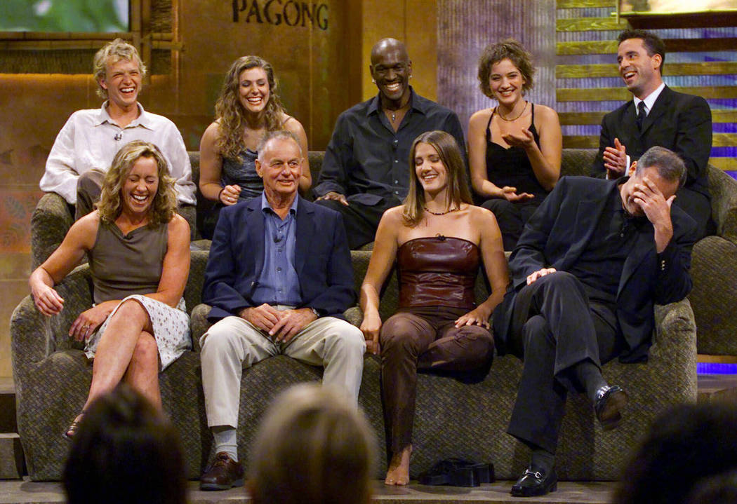 "A group of ""Survivor"" contestants break into laughter during a live town hall meeting at CBS St ..."