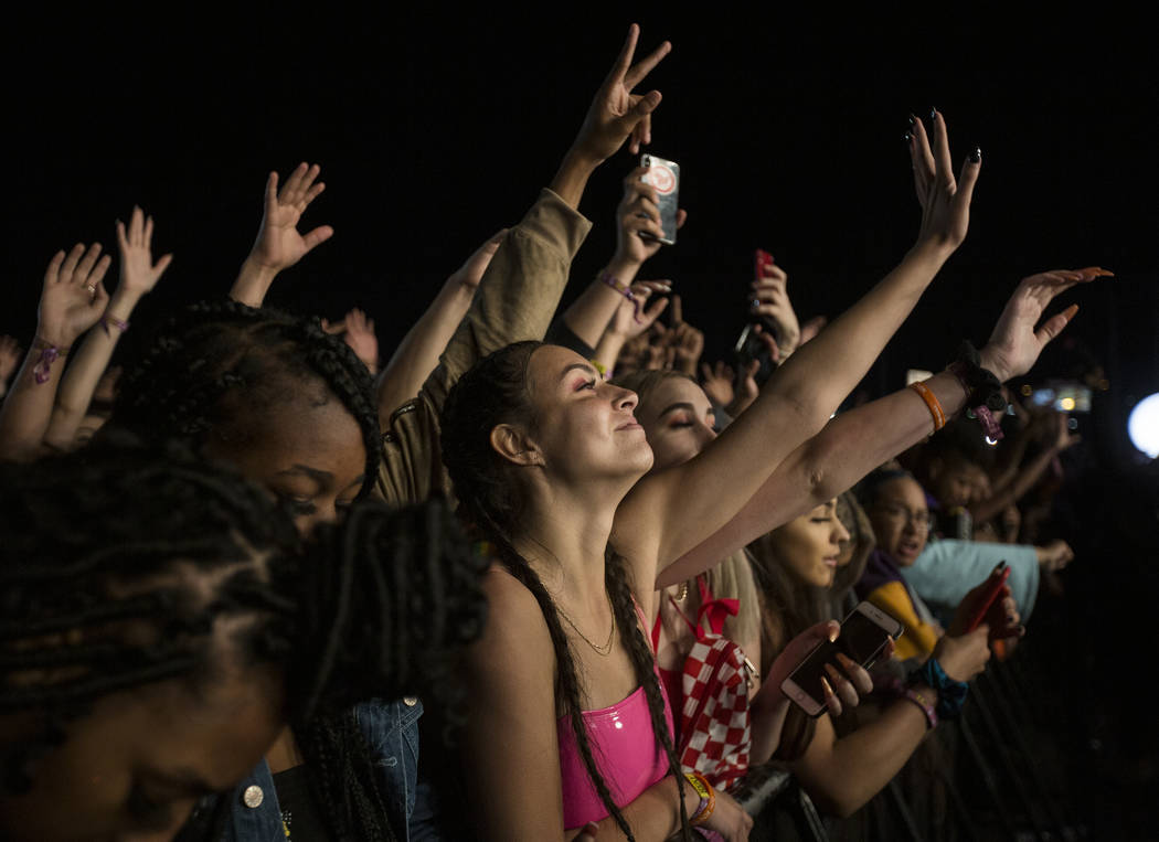 Fans cheer for Lil Uzi Vert on the Roll the Dice stage during the Day N Vegas music festival on ...