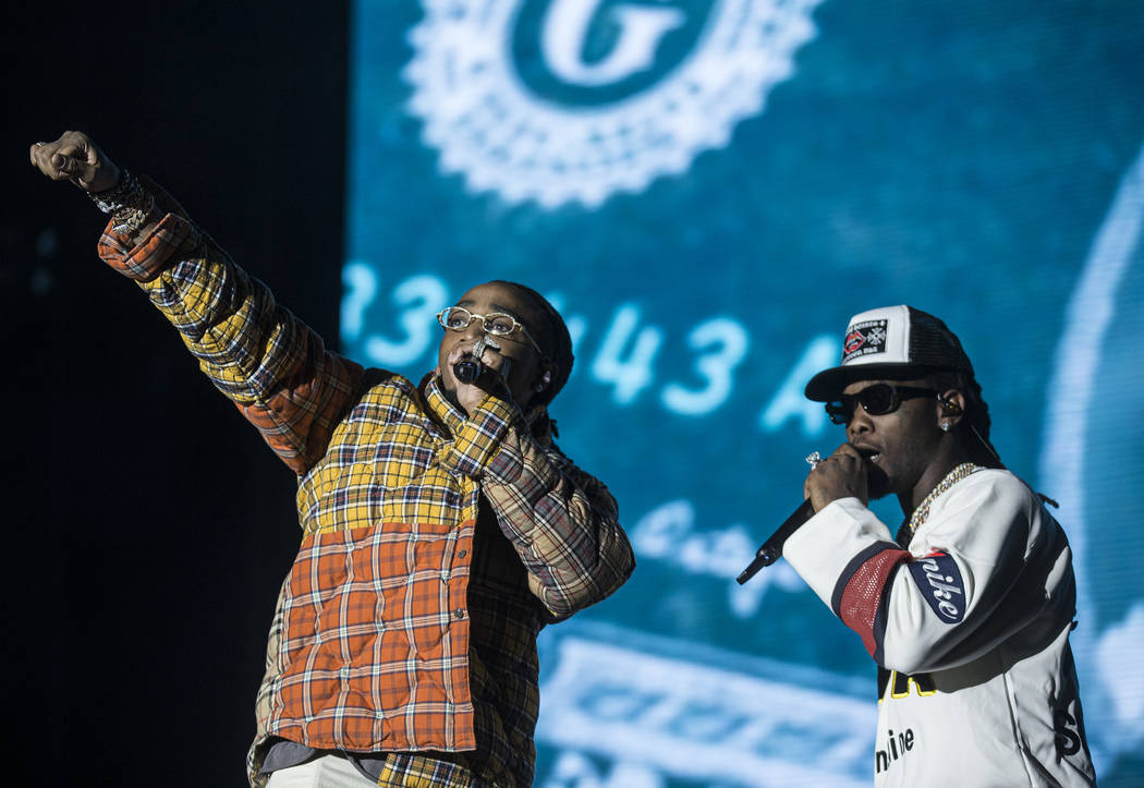 Migos performs at the Jackpot stage during Day N Vegas music festival on Saturday, Nov. 2, 2019 ...