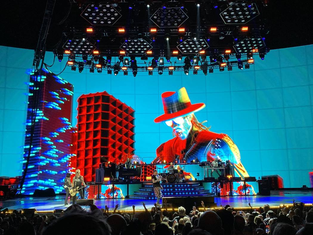 "Guns N' Roses is shown at the Colosseum at Caesars Palace during the final leg of the band's ""N ..."