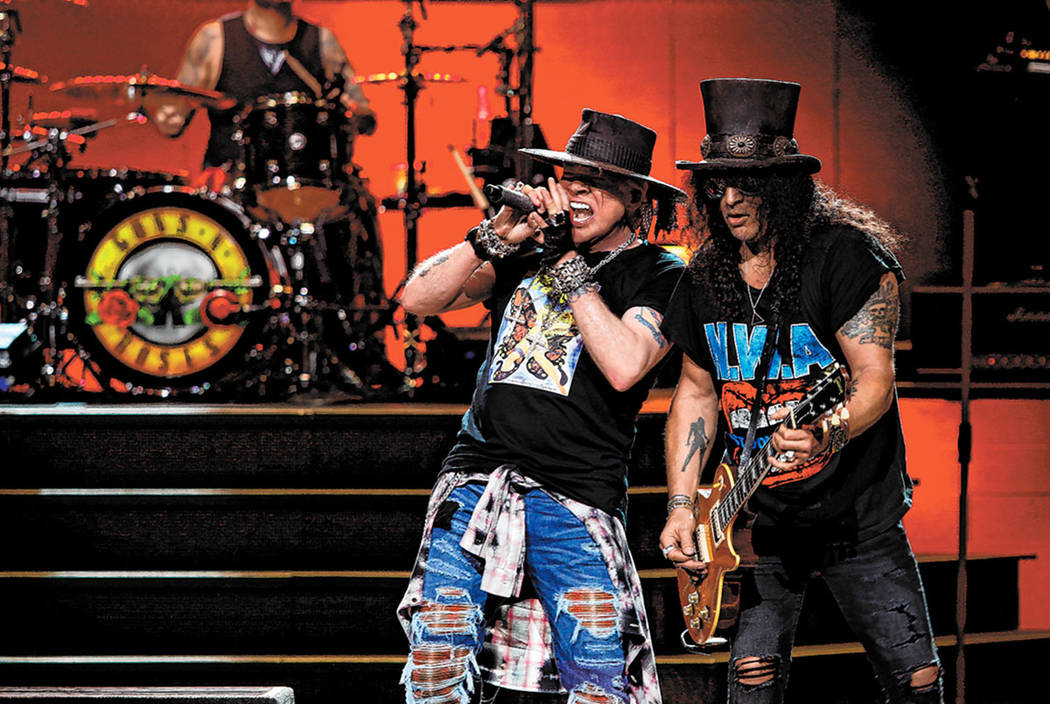 Axl Rose and Slash of Guns N' Roses are shown at the Colosseum at Caesars Palace during the fin ...