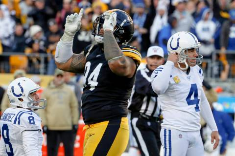 Pittsburgh Steelers defensive end Tyson Alualu (94) celebrates as the field goal attempt by Ind ...