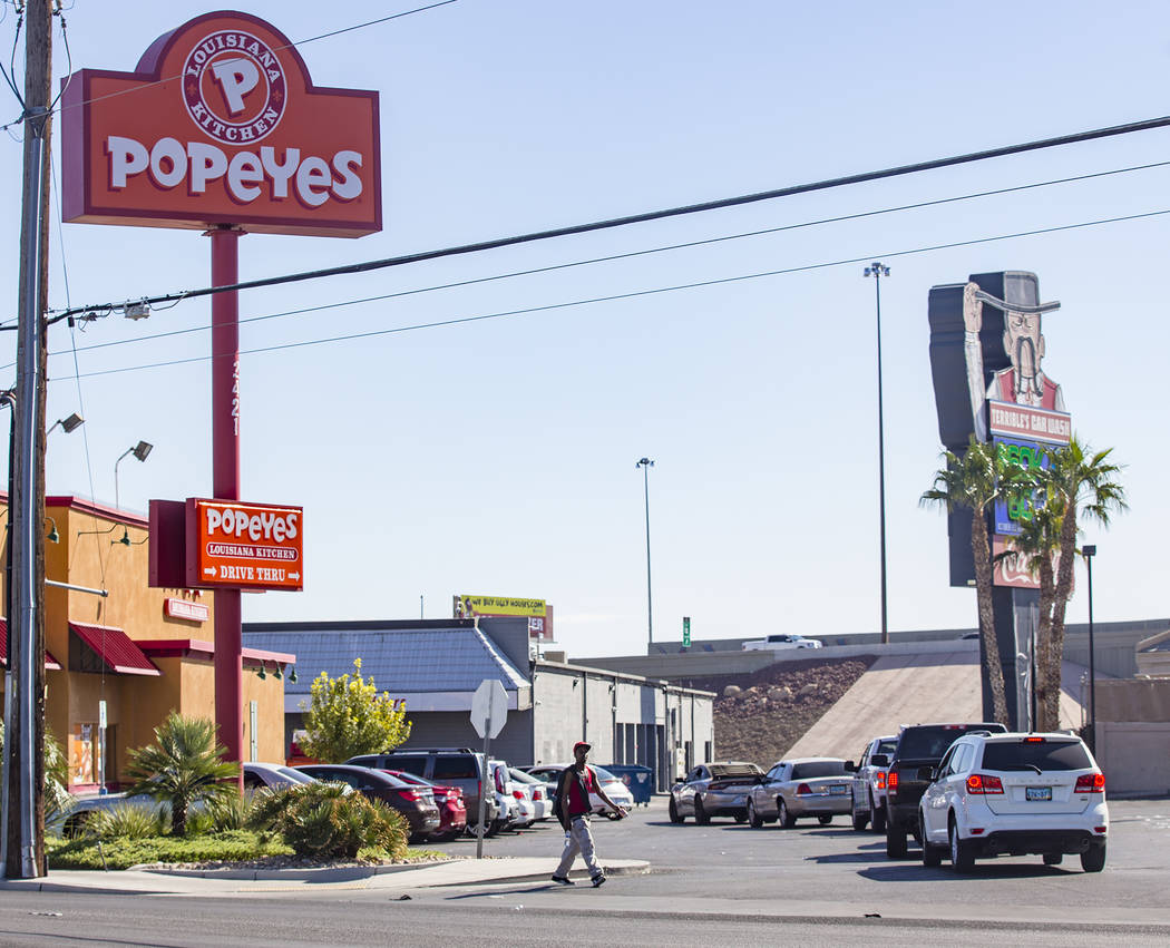 A long line of cars at the Popeyes on Bonanza Road in Las Vegas, Sunday, Nov. 3, 2019. Popeyes ...