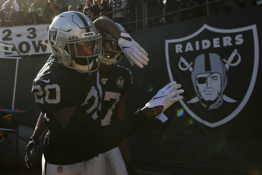 Oakland Raiders cornerback Daryl Worley (20) celebrates after intercepting a pass against the D ...