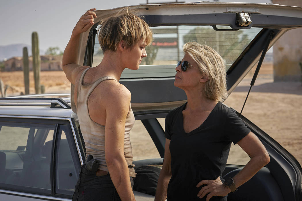 This image released by Paramount Pictures shows Mackenzie Davis, left, and Linda Hamilton in &q ...