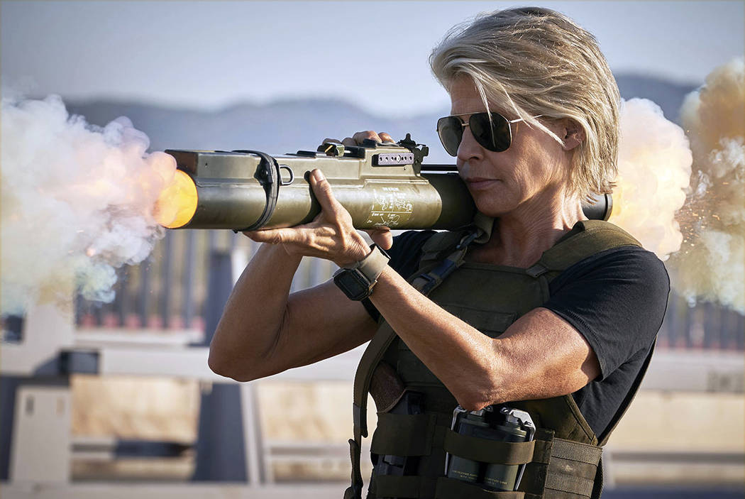 "Linda Hamilton is seen in ""Terminator: Dark Fate."" (Kerry Brown/Paramount Pictures via AP)"