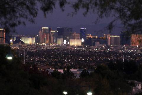 The Las Vegas Strip at dawn as seen from Henderson on Monday, Nov. 4, 2019. (Bizuayehu Tesfaye/ ...