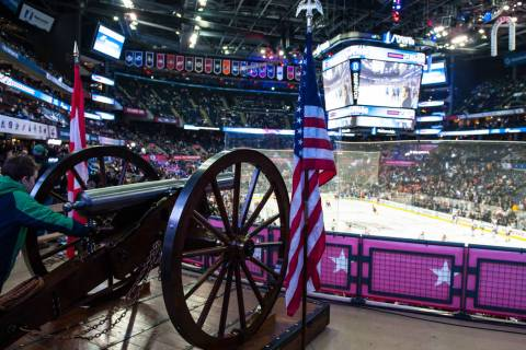 The Columbus Blue Jackets Cannon at the NHL All-Star Game Skills Competition, Jan. 24, 2015, at ...