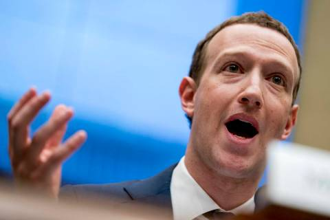 In this April 11, 2018, file photo Facebook CEO Mark Zuckerberg testifies before a House Energy ...