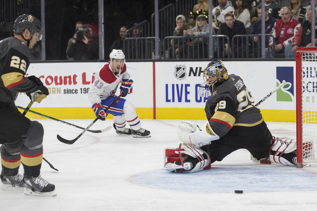 Vegas Golden Knights goaltender Marc-Andre Fleury (29) makes a save against Montreal Canadiens ...