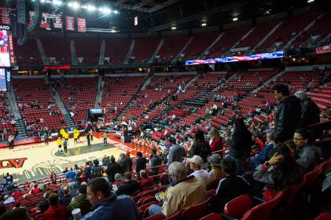 Rebels fans head to their seats minutes before UNLV plays UC Riverside in a basketball game at ...