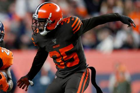 Cleveland Browns defensive back Jermaine Whitehead (35) runs a play against the Denver Broncos ...