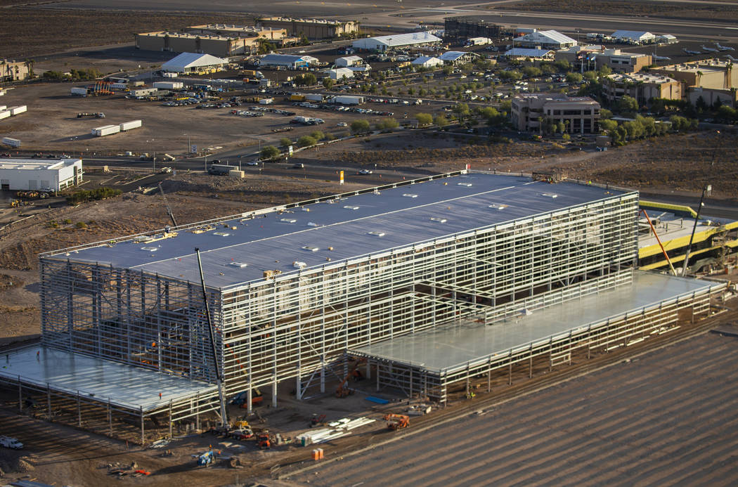 Construction at the Raiders practice facility continues on Wednesday, Oct. 16, 2019, in Las Veg ...