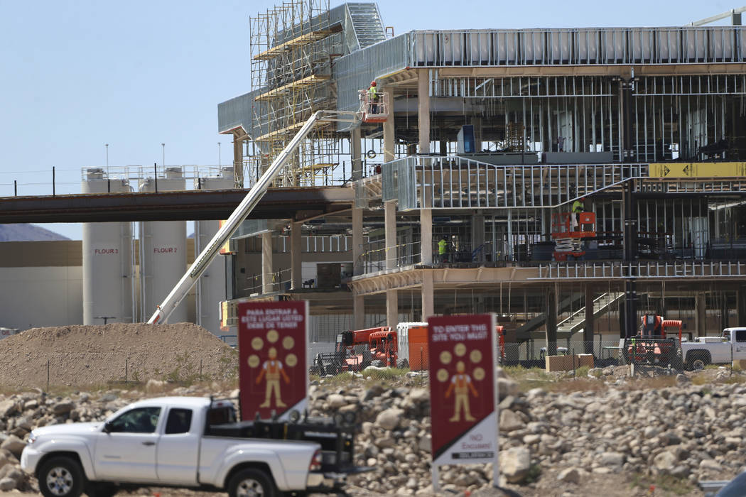 Construction at the Raiders practice facility in Henderson, Wednesday, Aug. 21, 2019. (Erik Ver ...