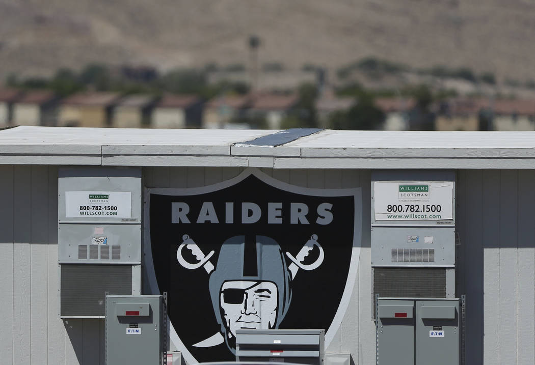 A portable office at the Raiders practice facility in Henderson, Wednesday, Aug. 21, 2019. (Eri ...