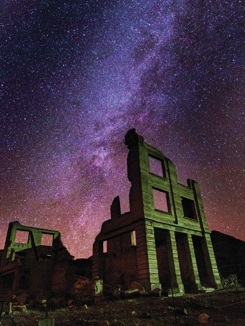 A view of the night sky over the Cook Bank building in Rhyolite on Friday, Nov. 22, 2019. (Chas ...