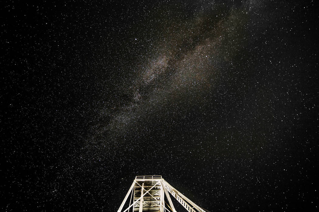 The Milky Way in the dark sky above the Tonopah Historic Mining Park on Wednesday, Oct. 30, 201 ...